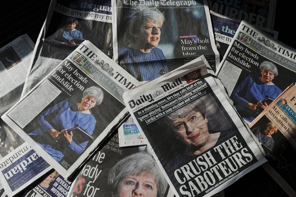 Newspaper front covers featuring coverage of May's 2017 snap election