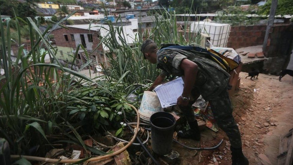 A Brazilian Army soldier inspects buckets at a home on 25 January, 2016 in Recife, Brazil.