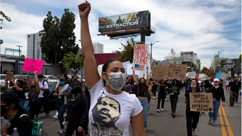 Thousands of demonstrators march in response to George Floyd's death on June 2, 2020 in Los Angeles, California
