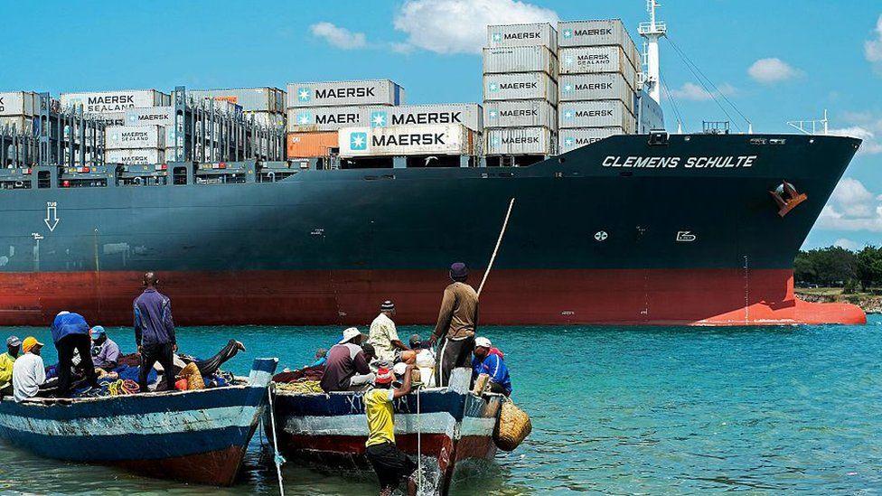 Ship pulling into Dar es Salaam port