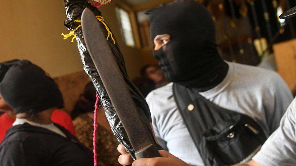 Paramilitaries burst into the San Sebastian Basilica, in Diriamba, Nicaragua on July 09, 2018.