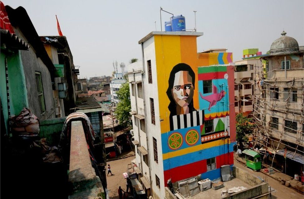 A general view of a painted building at Sonagachi red light district in Kolkata