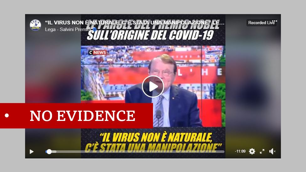 """Luc Montagnier interview screenshot. Labelled """"no evidence"""""""