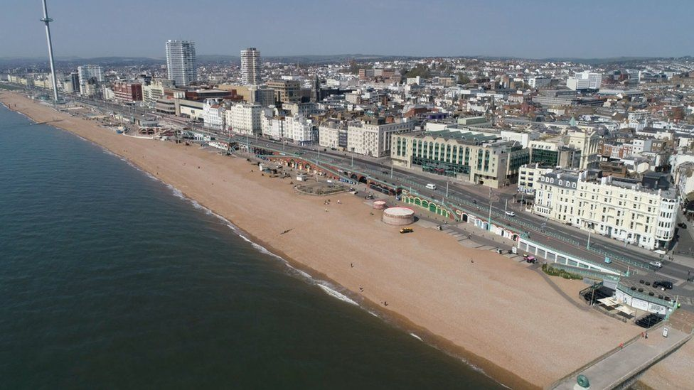 Brighton beach was relatively quiet, as police moved visitors on