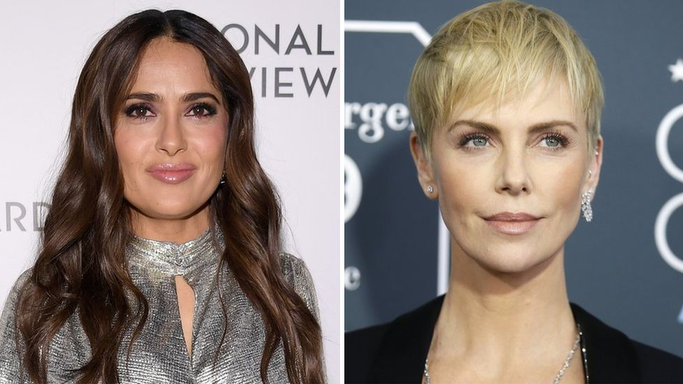 Composite image of Salma Hayek and Charlize Theron
