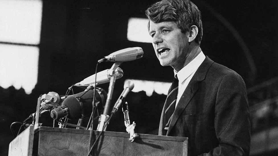 RFK giving a speech