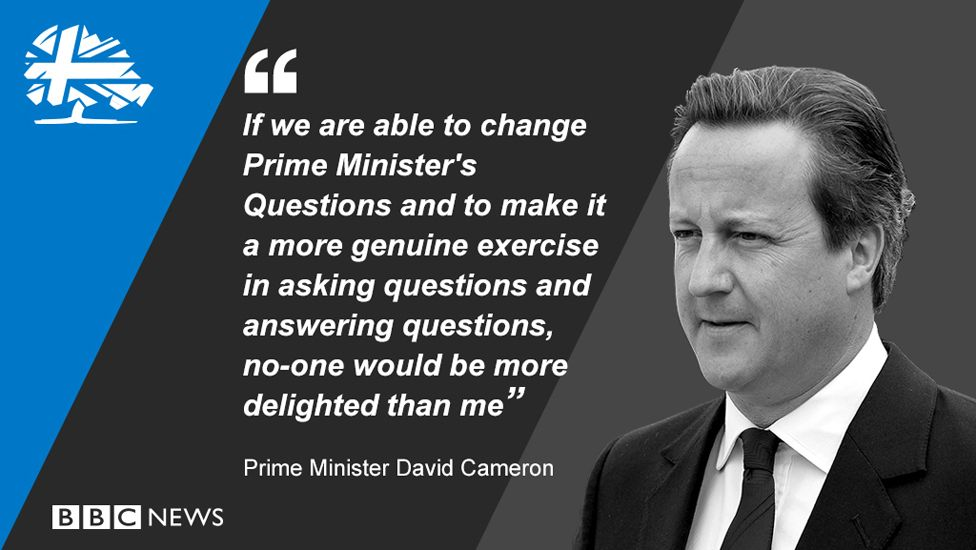 """David Cameron said: """"If we are able to change Prime Minister's Questions and to make it a more genuine exercise in asking questions and answering question, no-on would be more delighted than me."""""""