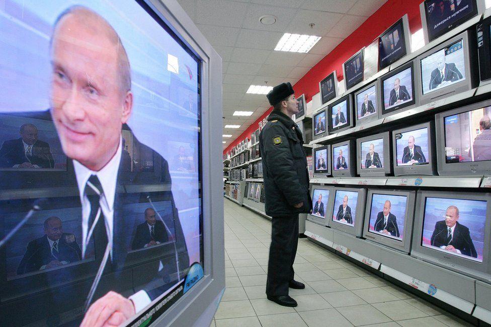 President Putin on Russian TV, 2007 file pic