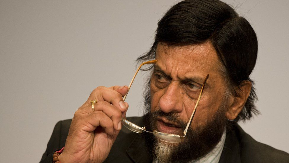 Rajendra Pachauri, Chairman of the Intergovernmental Panel on Climate Change (IPCC) addresses a press conference