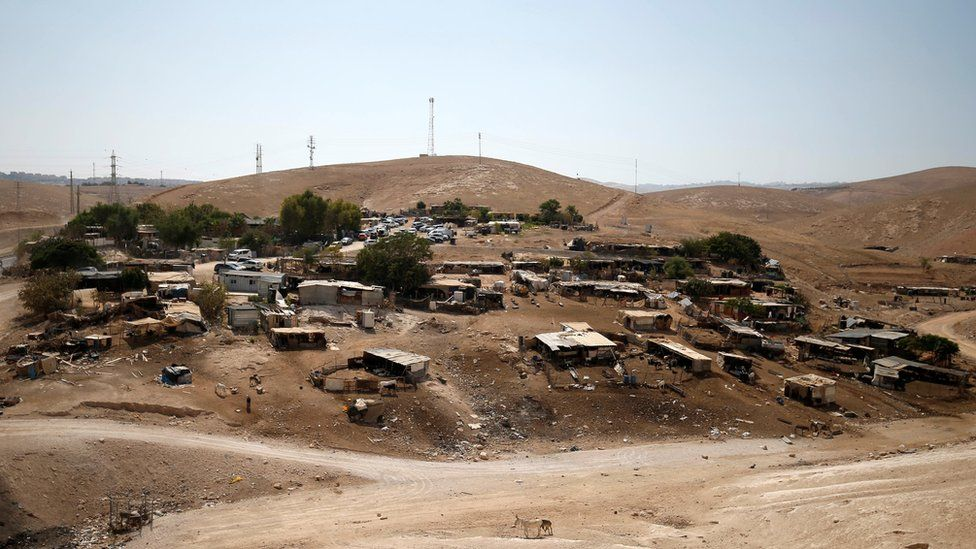 General view of the Bedouin village of Khan al-Ahmar, in the occupied West Bank (5 September 2018)