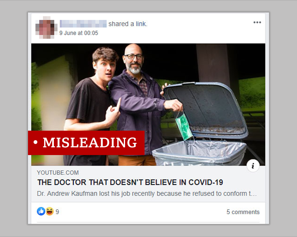 """Screenshot of post about the Dr Kaufman interview. We added a """"misleading"""" label"""
