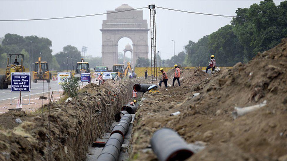 Construction work in progress at Rajpath