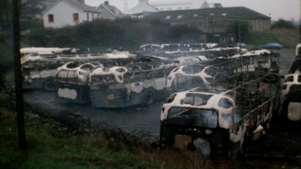 Buses destroyed Dungannon