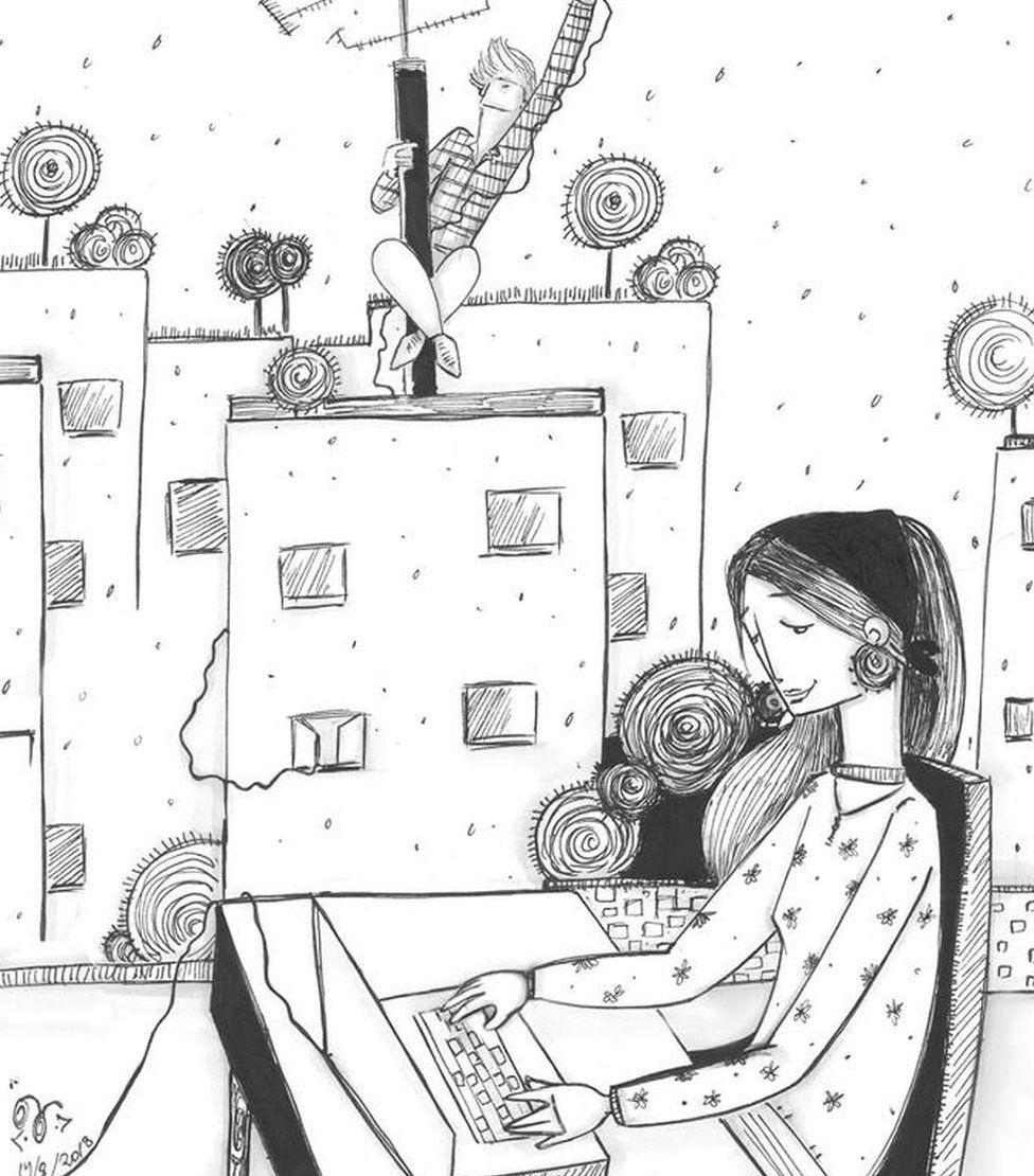 Na ilustração, homem concerta antena e mulher usa notebook