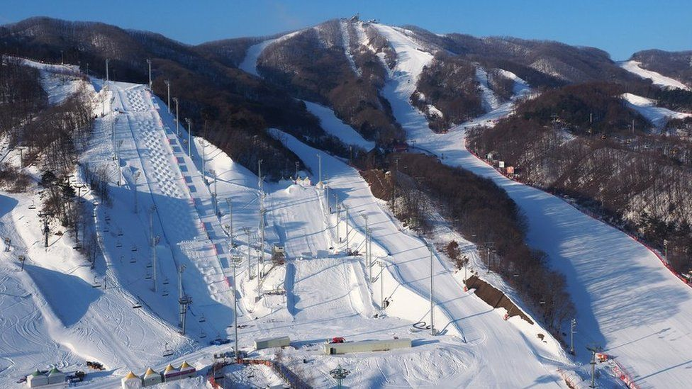 A view of the World Freestyle Cup 2017 venues at Bokwang Snowpark in PyeongChang-gun in South Korea.