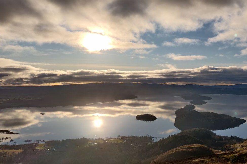 Sunlight reflections on Loch Lomond