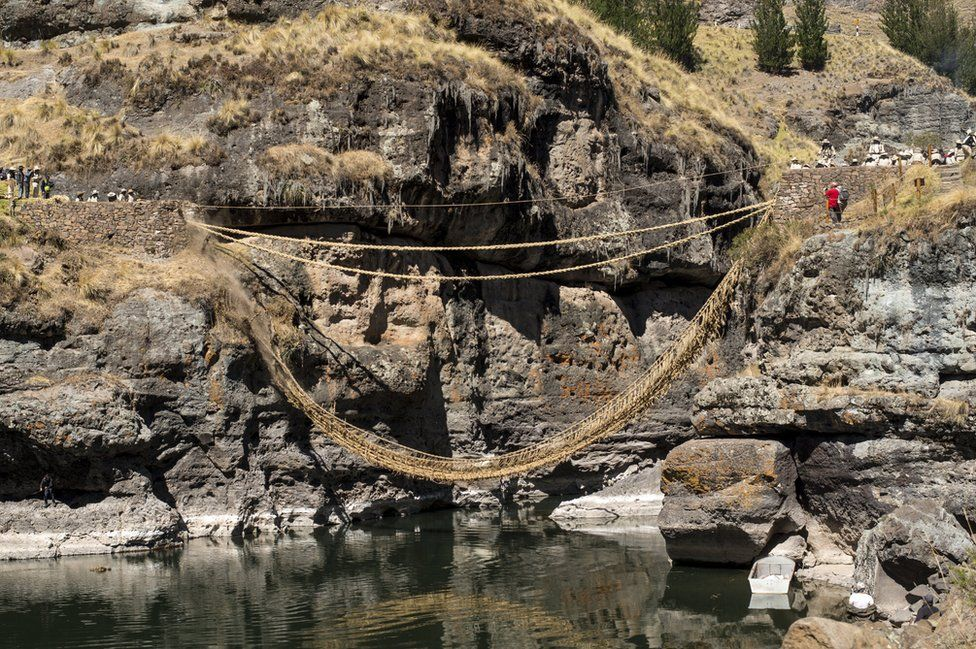 The old bridge is cut away