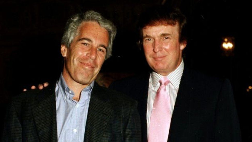 Jeffrey Epstein, left, with Donald Trump at the current president's Mar-a-Lago estate in Florida in 1997