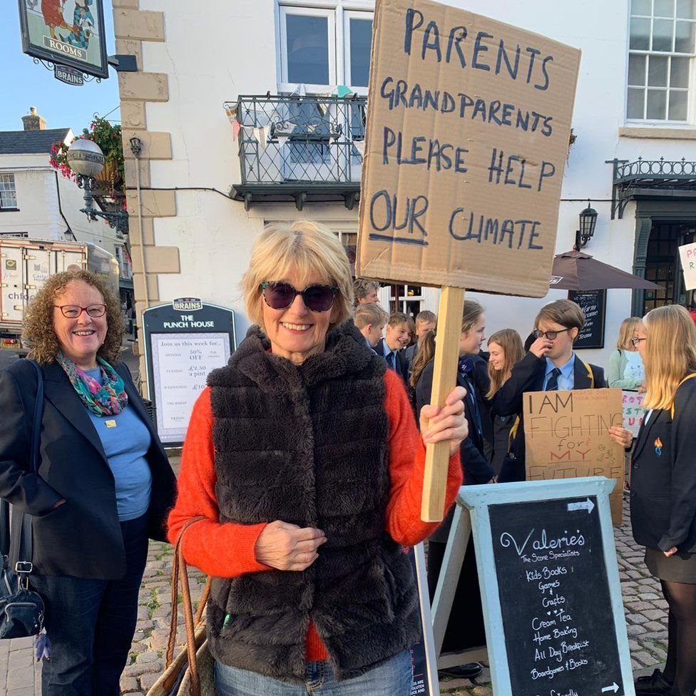 Protesters demonstrating in Monmouth
