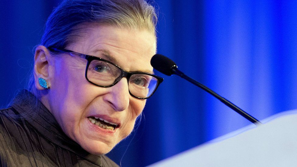 """US Supreme Court Justice Ruth Bader Ginsburg speaks after receiving the American Law Institute""""s Henry J. Friendly Medal in Washington, DC, on May 14, 2018."""