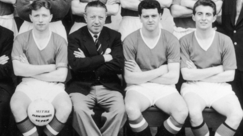 Jimmy Murphy is seen here with players in 1957