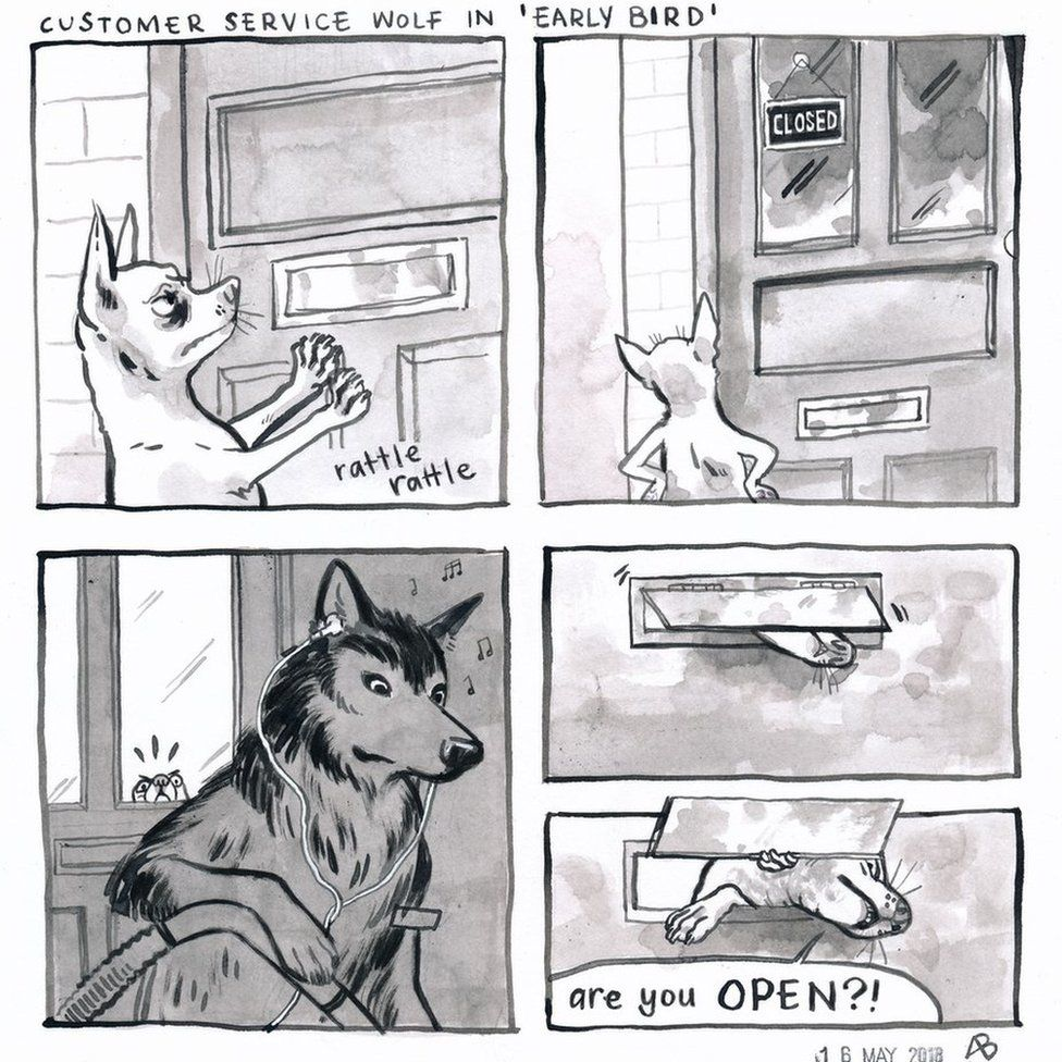 Four panel comic. First panel shows a small dog pushing a letterbox on a door to make a rattle sound. Second panel shows the dog looking at the door. Third panel shows the wolf inside the shop with a pair of headphones cleaning up with the dog looking through the door window. The fourth panel shows the dog's muzzle peeking through the letterbox shouting 'Are you open?'