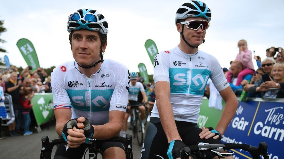 Geraint Thomas and Chris Froome in the Tour of Britain
