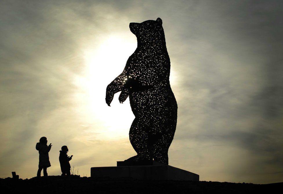 Steel bear sculpture