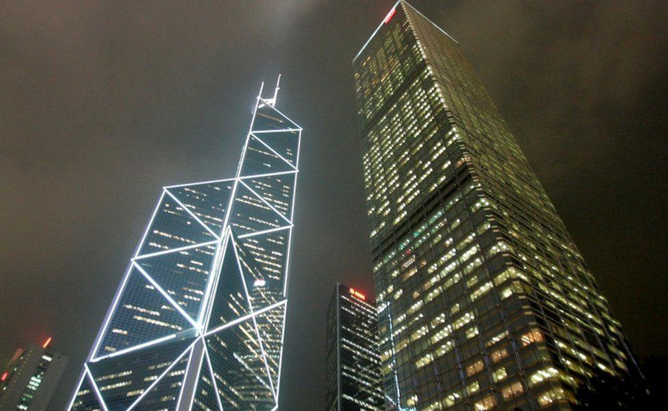 I M Pei's Bank of China tower (L) in Hong Kong