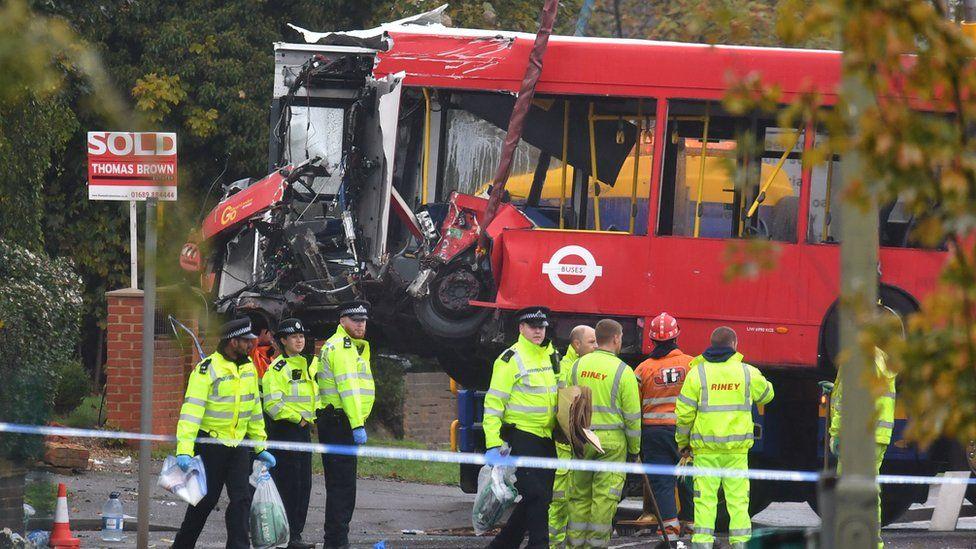 Bus involved in a crash, Orpington, London