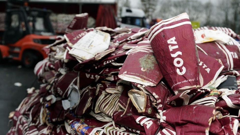 Discarded Costa Coffee cups