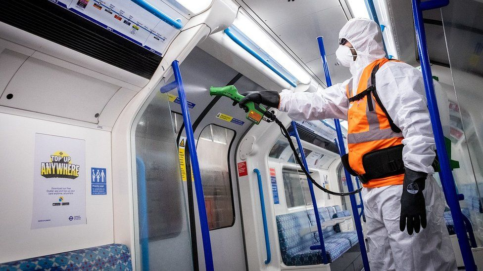 Tube train being cleaned with anti-viral disinfectant