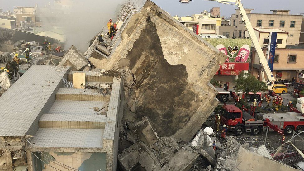 Collapsed building in Tainan, Taiwan, on 6 February 2016