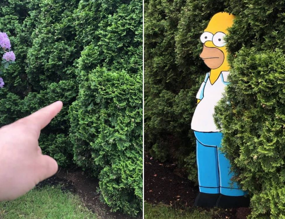 Home Simpson in a bush