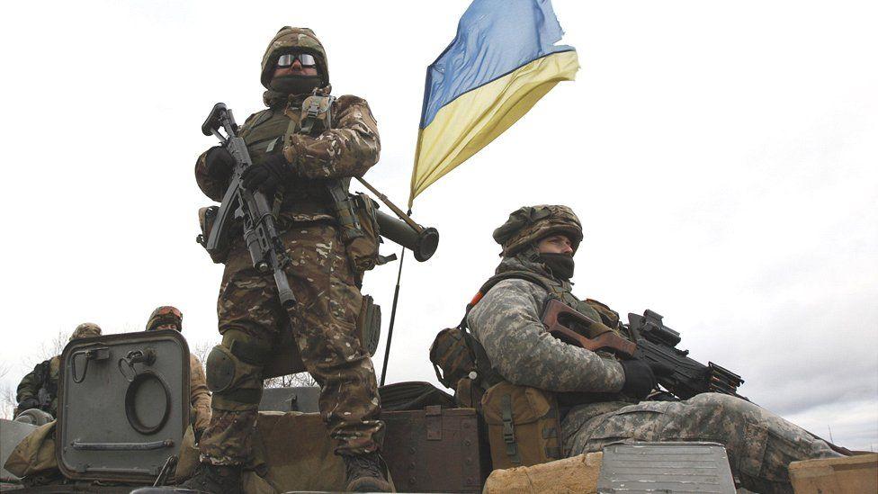 Ukrainian government troops in eastern conflict zone, Dec 2014