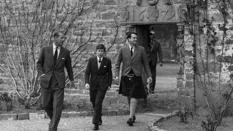 A young Prince Charles arrives for his first term at Gordonstoun school in 1962