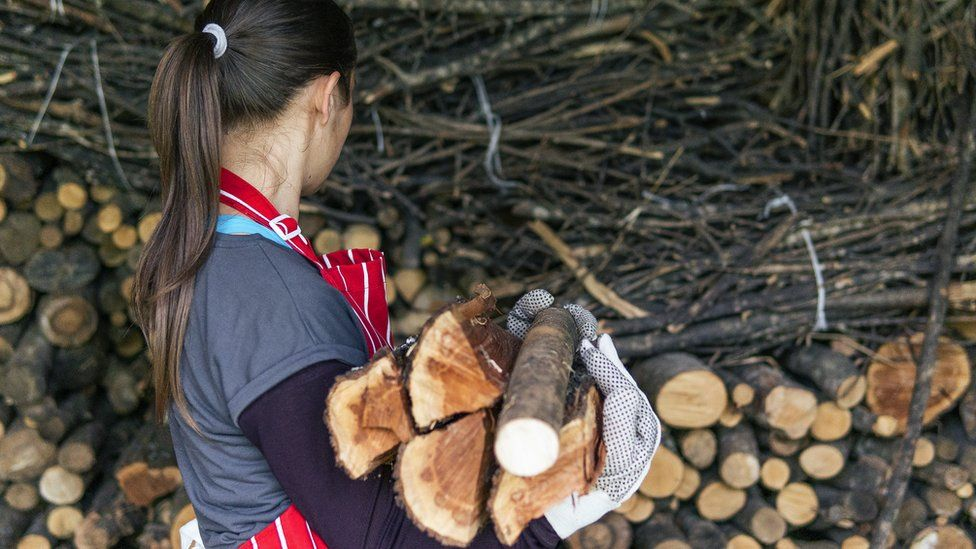 A woman collects some firewood