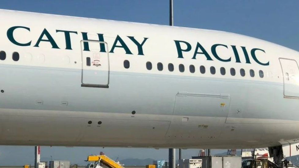 """Cathay Pacific plane with name misspelled as """"Cathay Paciic"""""""