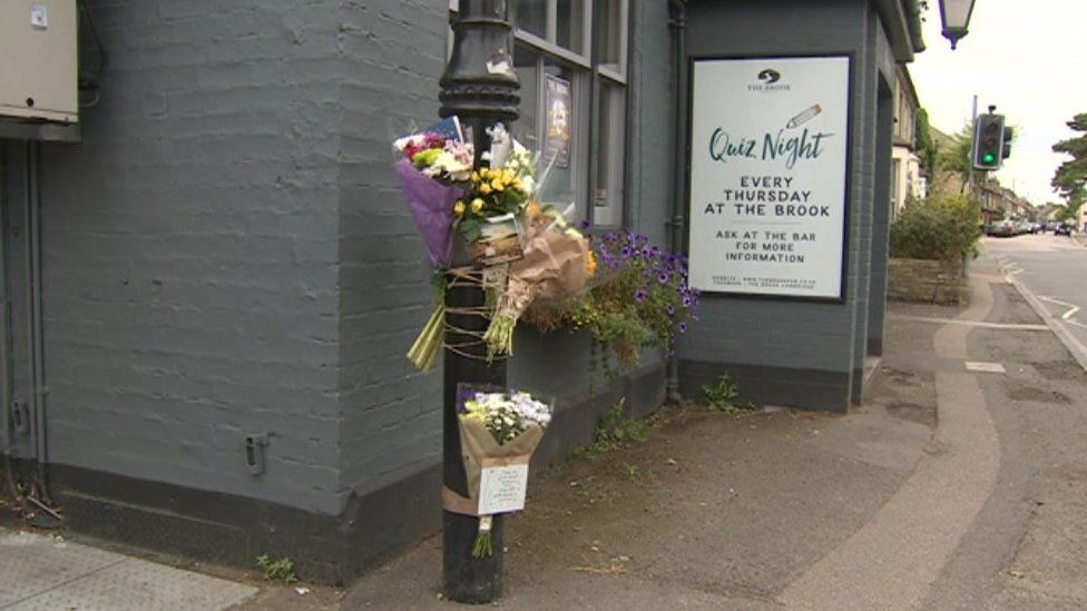 Flowers outside Cambridge pub