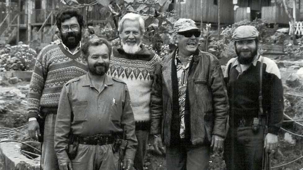 Picture taken in the 80s of one of the founders of the Revolutionary Armed Forces of Colombia, late former leader Luis Alberto Morantes Jaimes (2-R), aka Jacobo Arenas, and commanders Alfonso Cano (L), Raul Reyes (2-L) and current leader Timoleon Jimenez (R), posing at a camp somewhere in the Colombian mountainous region