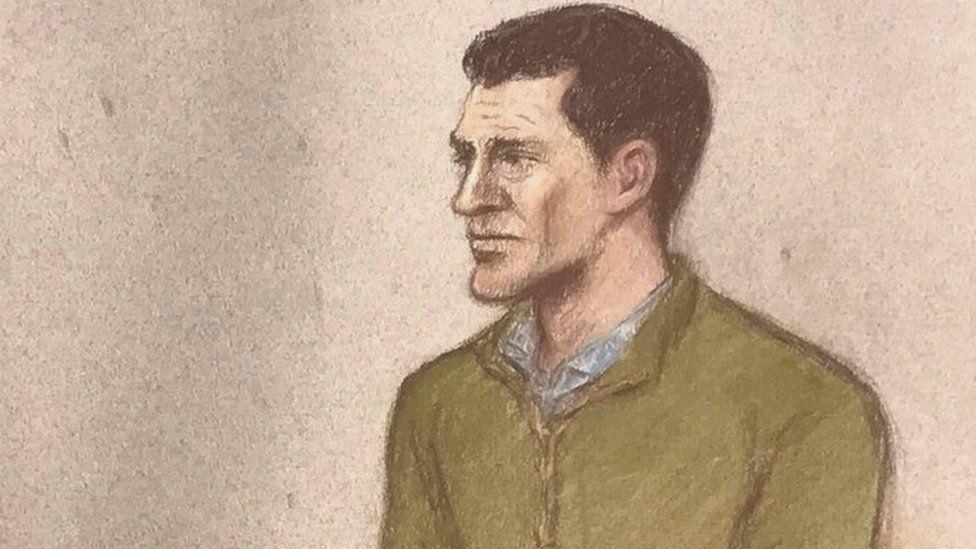 Artist's impression of James Watson in court