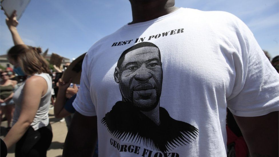 George Floyd on a protester's T-shirt