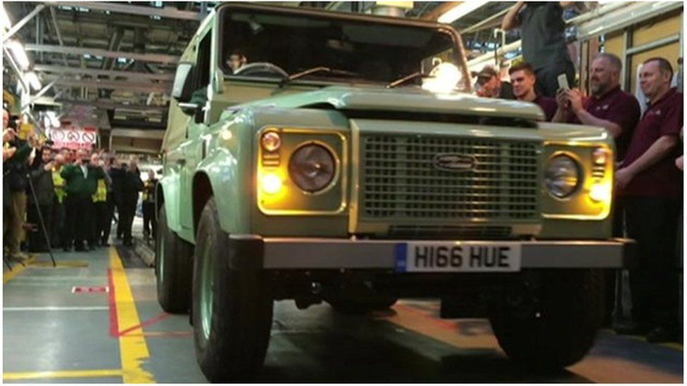 The last Land Rover Defender rolls off the production line in Solihull