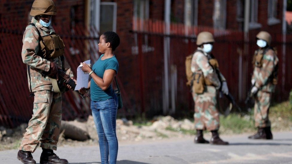 South African soldiers patrolling in Alexandra township during the coronavirus lockdown