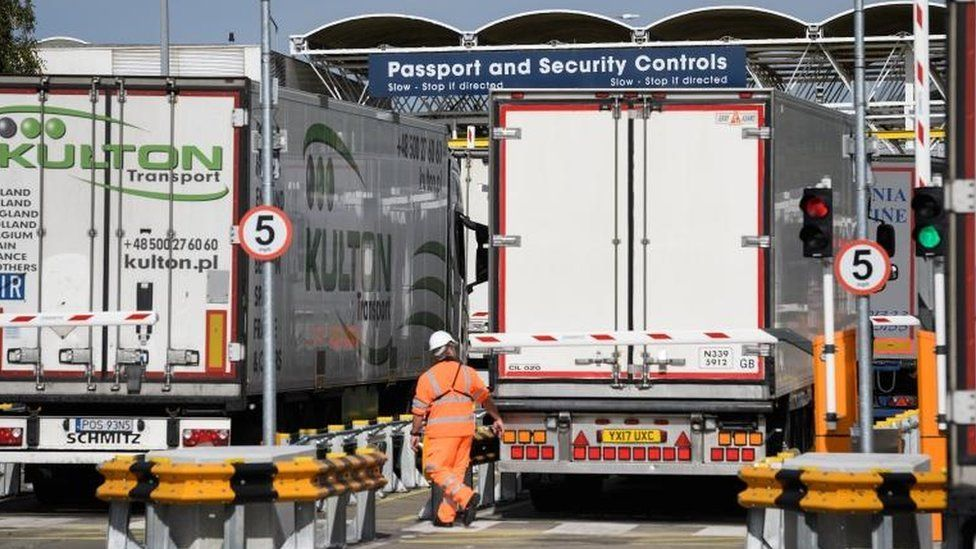Trucks being checked at customs