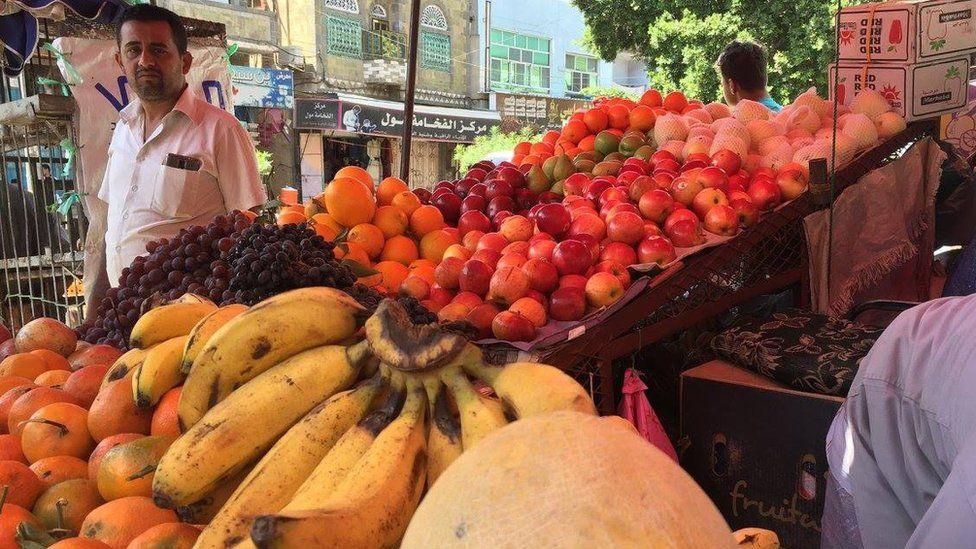 Food in market in Taiz