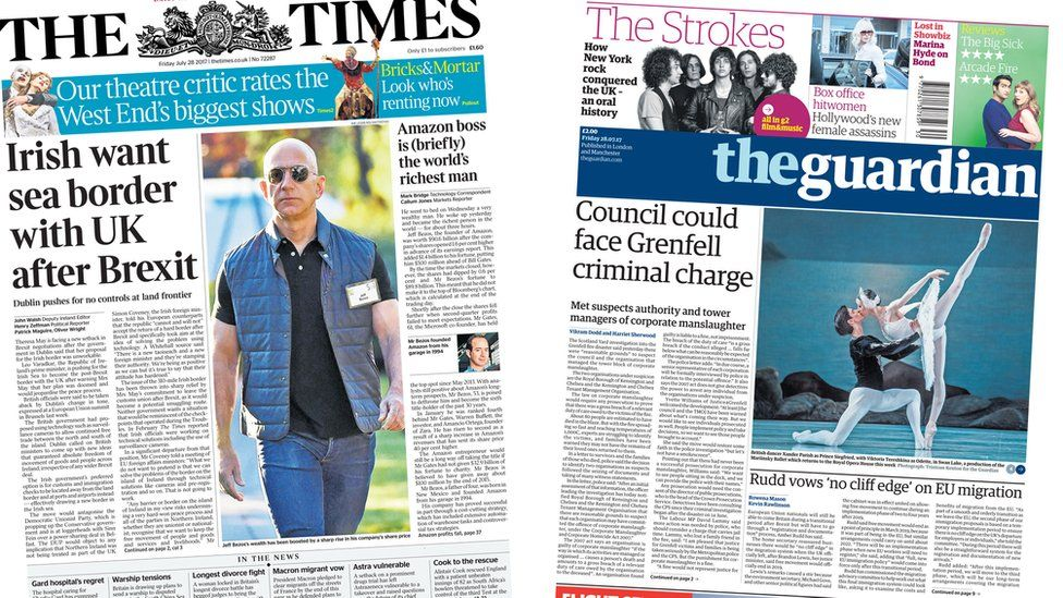 Times and Guardian front pages for 28/07/17