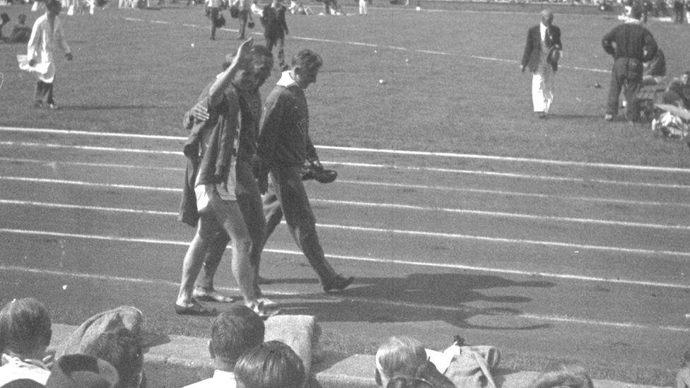 Trackside at London Olympics 1948