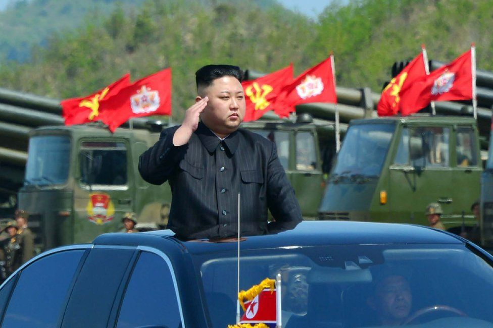 """This undated picture released by North Korea""""s official Korean Central News Agency (KCNA) on April 26, 2017 shows North Korean leader Kim Jong-un"""