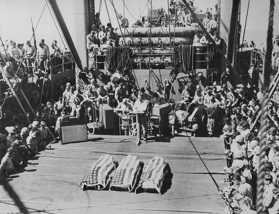 A burial-at-sea for US marines killed in the Battle of Tarawa